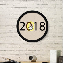 2018 Puppy Pattern Happy New Year Round Picture Frame Art Prints of Paintings Home Wall Decal Gift