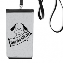 2018 Happy New Year Adorable Dog Faux Leather Smartphone Hanging Purse Black Phone Wallet Gift