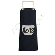 2018 Lovely Dog Happy New Year Cooking Kitchen Black Bib Aprons With Pocket for Women Men Chef Gifts