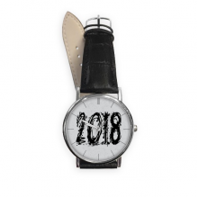 2018 Melt Effect Happy New Year Quartz Analog Wrist Business Casual Watch with Stainless Steel Case Gift