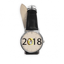 2018 Puppy Pattern Happy New Year Quartz Analog Wrist Business Casual Watch with Stainless Steel Case Gift