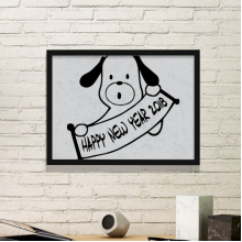 2018 Happy New Year Adorable Dog Simple Picture Frame Art Prints Paintings Home Wall Decal Gift