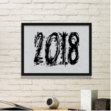 2018 Melt Effect Happy New Year Simple Picture Frame Art Prints Paintings Home Wall Decal Gift