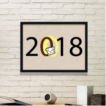 2018 Puppy Pattern Happy New Year Simple Picture Frame Art Prints Paintings Home Wall Decal Gift
