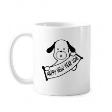2018 Happy New Year Adorable Dog Classic Mug White Pottery Ceramic Cup Gift With Handles 350 ml