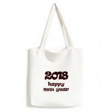 2018 Happy New Year Lovely Font Canvas Bag Environmentally Tote Large Gift Capacity Shopping Bags