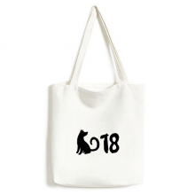 2018 Lovely Dog Happy New Year Canvas Bag Environmentally Tote Large Gift Capacity Shopping Bags