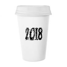 2018 Melt Effect Happy New Year Classic Mug White Pottery Ceramic Cup Gift 350 ml