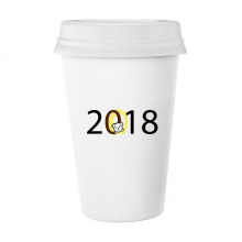 2018 Puppy Pattern Happy New Year Classic Mug White Pottery Ceramic Cup Gift 350 ml