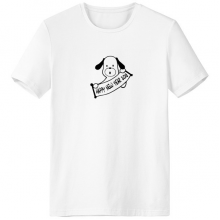 2018 Happy New Year Adorable Dog Crew-Neck White T-shirt Spring Summer Tagless Comfort Sports T-shirts Gift
