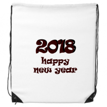 2018 Happy New Year Lovely Font Drawstring Backpack Shopping Handbag Gift Sports Bags