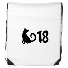 2018 Lovely Dog Happy New Year Drawstring Backpack Shopping Handbag Gift Sports Bags