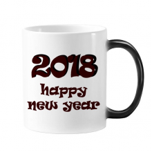 2018 Happy New Year Lovely Font Changing Color Mug Morphing Heat Sensitive Cup Gift With Handles 350 ml