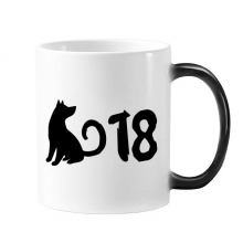 2018 Lovely Dog Happy New Year Changing Color Mug Morphing Heat Sensitive Cup Gift With Handles 350 ml