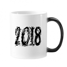 2018 Melt Effect Happy New Year Changing Color Mug Morphing Heat Sensitive Cup Gift With Handles 350 ml