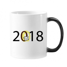 2018 Puppy Pattern Happy New Year Changing Color Mug Morphing Heat Sensitive Cup Gift With Handles 350 ml