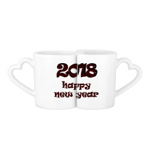 2018 Happy New Year Lovely Font Lovers' Mug Lover Mugs Set White Pottery Ceramic Cup Gift with Handles