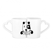 2018 New Year Adorable Cute Puppy Lovers' Mug Lover Mugs Set White Pottery Ceramic Cup Gift with Handles