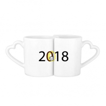 2018 Puppy Pattern Happy New Year Lovers' Mug Lover Mugs Set White Pottery Ceramic Cup Gift with Handles