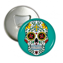 Cirrus Skull Flower Cross Mexico Culture Illustration Round Bottle Opener Refrigerator Magnet Pins Badge Button Gift 3pcs