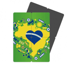 Heart-shaped Orderm Brazil Maps Refrigerator Magnet Puzzle Home Decal Magnetic Stickers (set of 4)