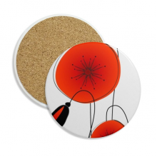 Abstract Flowers Painting Corn Poppy Stone Drink Ceramics Coasters for Mug Cup Gift 2pcs