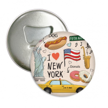 I Love New York Hot Dog Donuts America Texi Round Bottle Opener Refrigerator Magnet Pins Badge Button Gift 3pcs