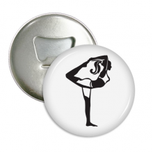 Stretching Yoga Girl Keep Silhouette Round Bottle Opener Refrigerator Magnet Pins Badge Button Gift 3pcs