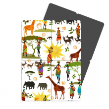 African Savanna Black Women Wildlife Animals Refrigerator Magnet Puzzle Home Decal Magnetic Stickers (set of 4)