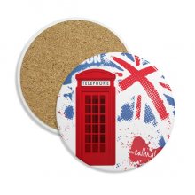 Britain UK London Flag Red Telephone Booth Stone Drink Ceramics Coasters for Mug Cup Gift 2pcs