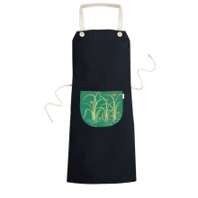Painting Green Culture Water Cooking Kitchen Black Bib Aprons With Pocket for Women Men Chef Gifts