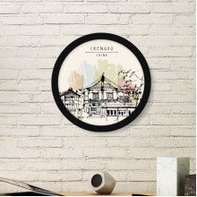 A Little Hub in Chengdu of China Round Picture Frame Art Prints of Paintings Home Wall Decal Gift