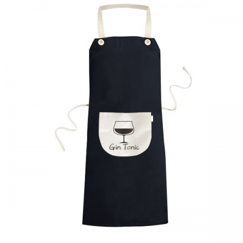 Silhouette Of Gin Tonic Cocktail Cooking Kitchen Black Bib Aprons With Pocket for Women Men Chef Gifts