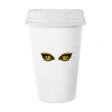 Cartoon Animal Cat Eye Decoration Classic Mug White Pottery Ceramic Cup with Lid 350ml Gift