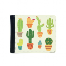 Potted Plant Cactus Succulents Pattern Flip Bifold Faux Leather Wallet  Multi-Function Card Purse Gift