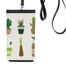 Cactus Potted Plant Succulents Faux Leather Smartphone Hanging Purse Black Phone Wallet Gift