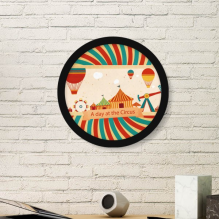 A Day At The Circus Pattern Round Picture Frame Art Prints of Paintings Home Wall Decal Gift