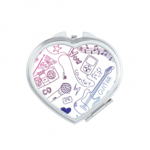 Headset Combination Music Pattern Illustrate Heart Compact Makeup Mirror Portable Cute Hand Pocket Mirrors Gift
