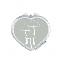 Beautiful Gray Poisonous Mushroom Heart Compact Makeup Mirror Portable Cute Hand Pocket Mirrors Gift