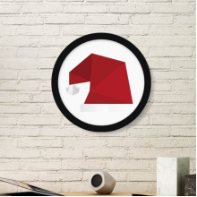 Abstract Christmas Hat Origami Pattern Art Painting Picture Photo Wooden Round Frame Home Wall Decor Gift