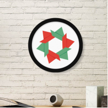 Abstract Christmas Flower Origami Pattern Art Painting Picture Photo Wooden Round Frame Home Wall Decor Gift