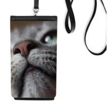 Animal  Looking Up Cat Photograph Faux Leather Smartphone Hanging Purse Black Phone Wallet Gift