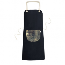 Animal Pattern Gray Cat Photograph Apron Cooking Bib Black Kitchen Pocket Women Men
