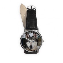 Dog Animal Snow Husky Photography Quartz Analog Wrist Business Casual Watch with Stainless Steel Case Gift