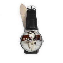 Dog Animal Room Husky Picture Quartz Analog Wrist Business Casual Watch with Stainless Steel Case Gift