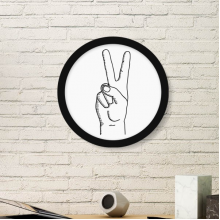 Victory Gesture Line Drawing Pattern Art Painting Picture Photo Wooden Round Frame Home Wall Decor Gift