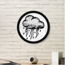 Cloudy Hand Painted Pattern Art Painting Picture Photo Wooden Round Frame Home Wall Decor Gift