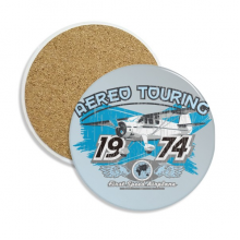 1974 Plane Aereo Touring Pattern Ceramic Coaster Cup Mug Holder Absorbent Stone for Drinks 2pcs Gift