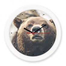 Terrestrial Organism Wild Animal Bear Silent Non-ticking Round Clock Battery-operated Home Wall Decal Gift