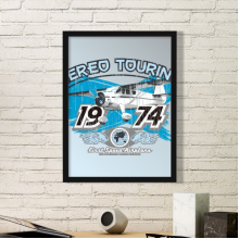 1974 Plane Aereo Touring Pattern Art Painting Picture Photo Wooden Rectangle Frame Home Wall Decor Gift